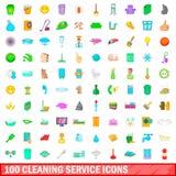 100 icônes de nettoyage de service réglées, style de bande dessinée illustration de vecteur