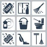 Icônes de nettoyage de vecteur réglées Images stock