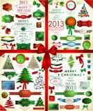 Icônes de Noël réglées. Illustration de vecteur Photographie stock
