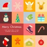 Icônes de Noël réglées, vecteur Photographie stock