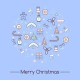 Icônes de Noël réglées, vecteur Photographie stock libre de droits