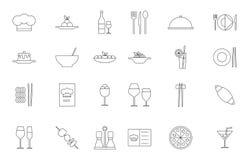 Icônes de noir de nourriture de restaurant réglées Photographie stock