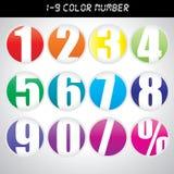 Icônes de nombre de couleur Image libre de droits