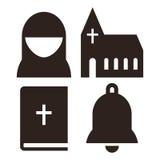 Icônes de nonne, d'église, de bible et de cloche illustration libre de droits