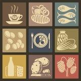 Icônes de nourriture Images stock