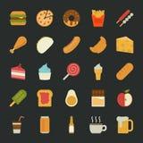 Icônes de nourriture, conception plate Image libre de droits