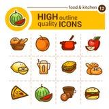 Icônes de nourriture de couleur Images stock