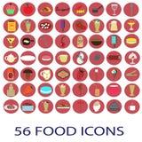 56 icônes de nourriture de couleur réglées illustration stock