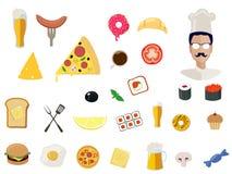 Icônes de nourriture de vecteur pour le restaurant sur le fond illustration libre de droits