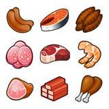 Icônes de nourriture de viande réglées Images libres de droits