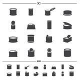 Icônes de nourriture en boîte illustration de vecteur
