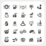 Icônes de nourriture et de dessert réglées Image libre de droits