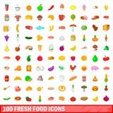 100 icônes de nourriture fraîche réglées, style de bande dessinée Photos stock