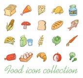 Icônes de nourriture réglées, illustration de vecteur Photo libre de droits
