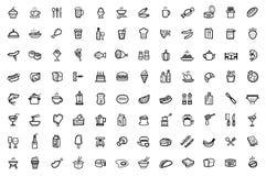 Icônes de nourriture réglées Images stock