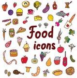 Icônes de nourriture réglées - conception tirée par la main Image libre de droits