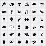 Icônes de nourriture sur le fond blanc Photo stock