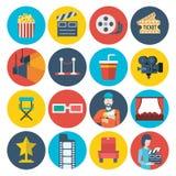 Icônes de observation de conception de film visuel plat de cinéma réglées Photographie stock
