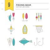 Icônes de pêche Images libres de droits