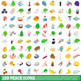 100 icônes de paix réglées, style 3d isométrique Photographie stock libre de droits