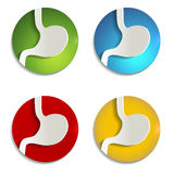 Icônes de papier colorées d'estomac Illustration Stock