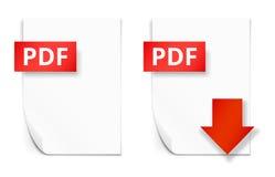 Icônes de papier de feuille de PDF Images libres de droits