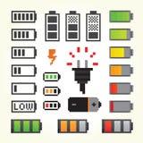 Icônes de paquet de batterie dans le style d'art de pixel Photographie stock