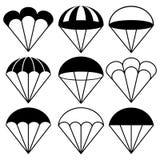 Icônes de parachute réglées, illustration de vecteur Images libres de droits