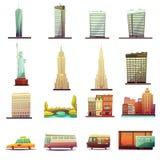 Icônes de paysage de transport de New York réglées illustration libre de droits