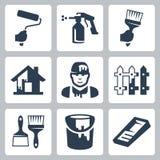 Icônes de peintre de maison de vecteur réglées illustration libre de droits