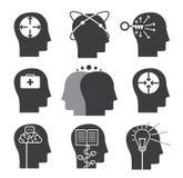 Icônes de pensée humaines, ensemble d'aptitudes mentales illustration stock