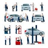 Icônes de personnes de service de voiture réglées Image stock