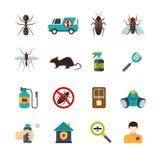 Icônes de Pest Control Flat d'exterminateur réglées Image libre de droits