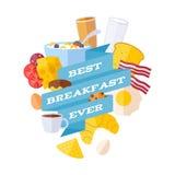 Icônes de petit déjeuner avec l'illustration de ruban Image libre de droits