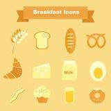 Icônes de petit déjeuner et ingrédients de cuisson Photos libres de droits