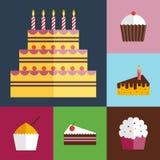 Icônes de petits gâteaux d'anniversaire réglées Photos stock