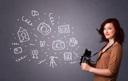 Icônes de photographie de tir de fille de photographe illustration stock