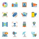 Icônes de photographie plates Photos libres de droits