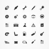 Icônes de pièces de voiture réglées Photo stock