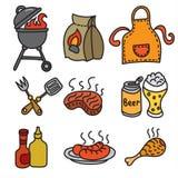 Icônes de pique-nique de barbecue Image stock