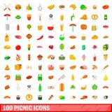 100 icônes de pique-nique réglées, style de bande dessinée Photographie stock libre de droits