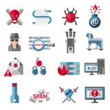 Icônes de pirate informatique réglées illustration stock