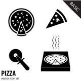 Icônes de pizza sur le fond blanc Photos stock