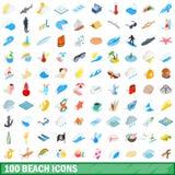 100 icônes de plage réglées, style 3d isométrique illustration stock
