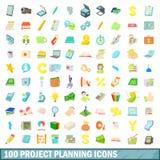 100 icônes de planification de projets réglées, style de bande dessinée illustration stock