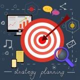 Icônes de planification de stratégie avec les photos lumineuses Photos libres de droits