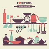 Icônes de plats de cuisine de vintage réglées Image stock