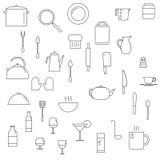 Icônes de plats réglées Photo stock