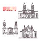 Icônes de points de repère d'architecture de l'Uruguay illustration stock