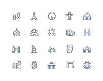 Icônes de points de repère Ligne série Images libres de droits